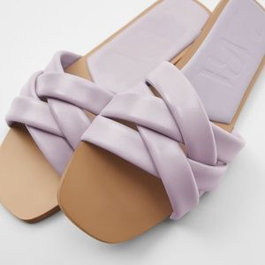 Zara Leather Slide Sandals with crossed straps 7.5
